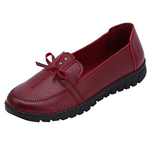 Yvelands Damen Single Schuh Freizeit Mittleren Alters Lady Bow Flat Round-Toe Mutter Schuhe Soft Bottom Single Schuh(CN-36,Weinrot)