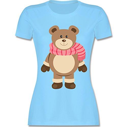 Weihnachten & Silvester - Winter Teddy mit Schal - tailliertes Premium T-Shirt mit Rundhalsausschnitt für Damen Hellblau