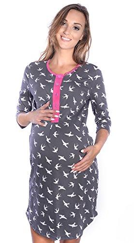 Mija - 2 en 1 Maternité/Allaitement 100% Coton Robe de Nuit 4016 (EU 38, Graphite)