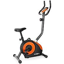 Bicicleta estática Klarfit Mobi FX 250y dinamómetro para el entrenamiento de resistencia (incluye pulsómetro,ordenador para entrenamiento, hasta max.110kg, certificado de seguridad TV/GS), color negro y naranja.