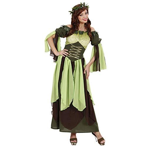 Amakando Knöchellanges Märchen-Kostüm Elfe / Grün-Braun in Größe M (38/40) / Hübsches Damen-Kleid Waldfee / Passend gekleidet zu Mottoparty & ()