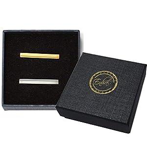 2-er Set kurze schmale Krawattenklammer | in eleganter Geschenkbox | für dünne und breite Krawatten | Silber Gold Krawattennadel | für Herren | Clip-Set|  Business Krawatte | Krawattenhalter