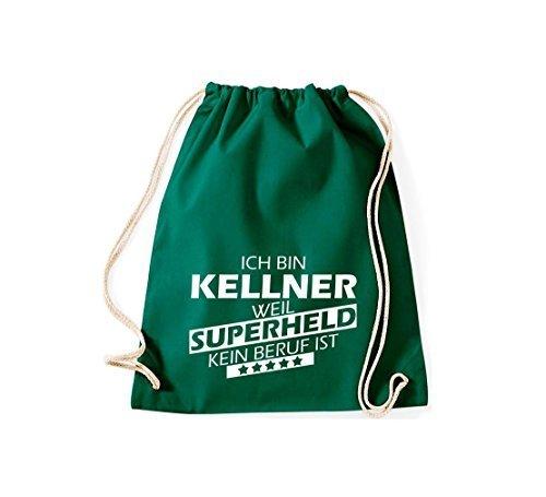 shirtstown BORSA PALESTRA Ich bin Kellner, WEIL supereroe NESSUN occupazione è - grigio, 37 cm x 46 cm verde