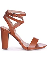 6642db53e80 Linzi Danni - Tan Nappa Block Heeled Sandal with Cross Over Ankle Strap