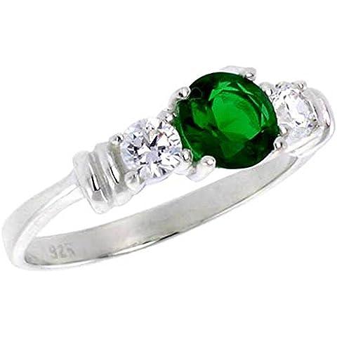 Revoni-Collana in argento Sterling, 1 carati, taglio a brillante, anello in zirconia cubica color smeraldo, misure disponibili da L a T)
