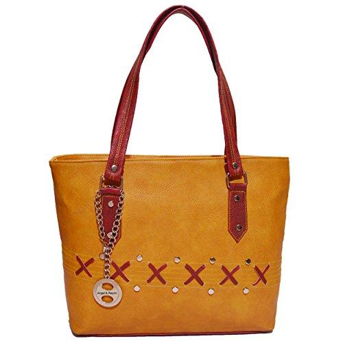Angel & Rayon Daniel PU Leather Fancy Stylish Handbag For Womens, Handbag for Ladies and Handbag for Girls (Yellow)