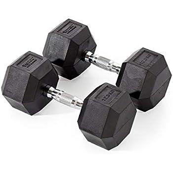 York Fitness, Pesas Hexagonales De Caucho, Negro, 2 X 12.5Kg ...