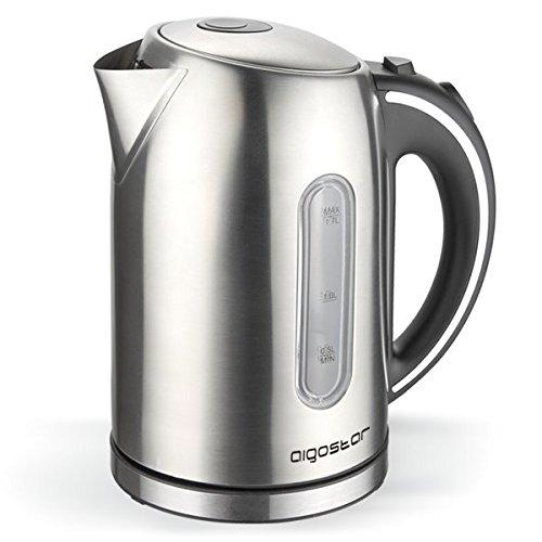 Hochwertiger Edelstahl Design Wasserkocher Teekocher Kabellos 1,7L 2200W LED Neu ... (Edelstahl) thumbnail