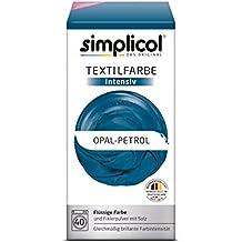 Simplicol Textilfarbe intensiv I Textilfärbung für die Waschmaschine I Färbemittel und Fixierpulver | Opal-Petrol 1811