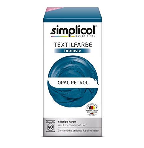 Grad 3 Stoff (simplicol Textilfarbe intensiv (18 Farben) - Opal-Petrol 1811: einfaches Textilfärben in der Waschmaschine, Komplettpackung mit Färbemittel und Fixierpulver)