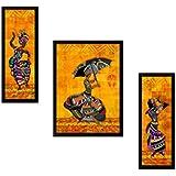 SAF UV Textured Modern Art Print Framed Painting Set Of 3 For Home Decoration – Size 35 X 2 X 50 Cm
