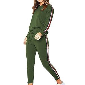 TOMWELL Damen 2pcs Hausanzug Jogginganzug Langarm Pullover mit Hose Sportanzug Trainingsanzug Rundhals Sweatshirt Pullover + Hose