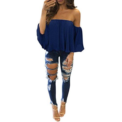 Damen Bluse Dasongff Frauen Schulterfrei Oberteil Elegante Bluse Kurz Tops Langarm-Shirt Casual Trompetenärmel Blusen Lose T-Shirt Tops Blouse (S, Blau-B) (Cropped Pullover Blau)