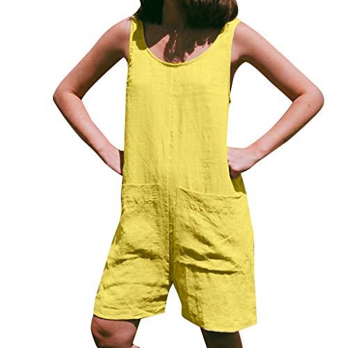 r Overall, Lose ärmellose weitem Bein Hose Plus Size Einfarbig Overall Spielanzug Playsuit ()