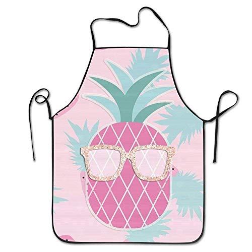 Laohujia Pink Pineapple with Sunglasses Cooking Apron Kitchen Apron for Women Men Chef