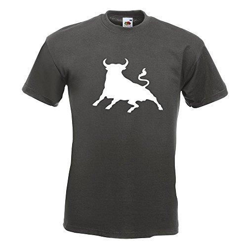 KIWISTAR - Stier Toro bull T-Shirt in 15 verschiedenen Farben - Herren Funshirt bedruckt Design Sprüche Spruch Motive Oberteil Baumwolle Print Größe S M L XL XXL Graphit