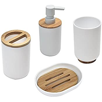 Ideko Set d\'Accessoires en Bambou pour Salle de Bain 4 Pièces ...