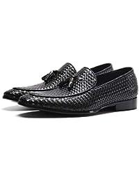 Jeff-chy Mocasines Casuales de Cuero Genuino de Primera Calidad Mocasines Transpirables Zapatos de conducción