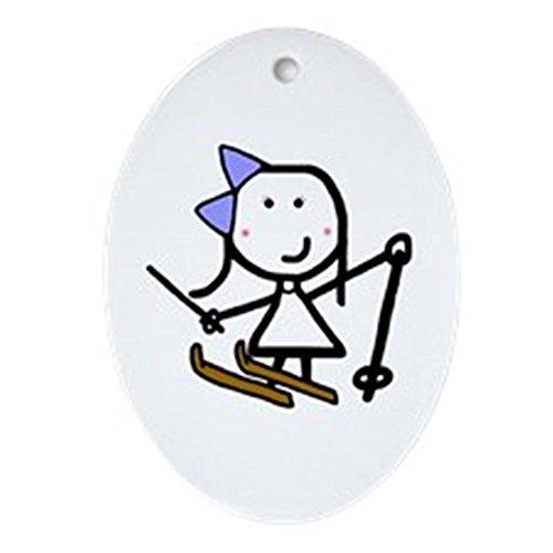 CafePress–Girl & Skifahren–oval Urlaub Weihnachten Ornament