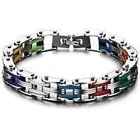 Vnox Bracciale catena della bici dell'arcobaleno del silicone in acciaio inox uomo,polacco finito,lunghezza 215