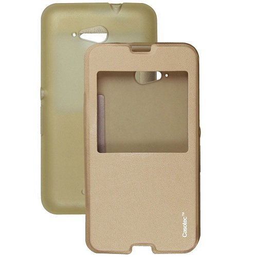 Casotec Premium Caller-id Flip Case Cover with Silicon TPU Back for Sony Xperia E4G - Gold  available at amazon for Rs.229