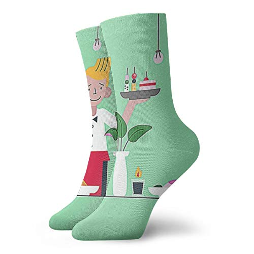 BJAMAJ Unisex Socken Kellnersocken servieren Häppchen Flache Illustration interessante Polyester Crew Socken Erwachsene Socken Baumwolle