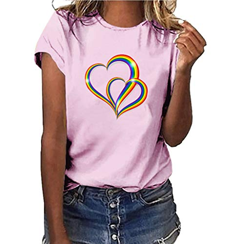 Yvelands-Damen Tops T-Shirt Mädchen Plus Size Print Shirt Kurzarm Bluse Tops(Pink4,M)