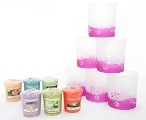 (6x Offizielles Yankee Candle Violett Scroll Getaucht Milchglas Votiv Kerzenhalter + 6Verschiedene Votivkerzen)