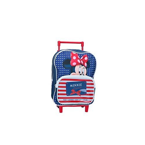 Minnie zaino bambina disney blu borsa scuola tempo libero con trolley vz867