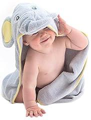 Idea Regalo - Little Tinkers World Asciugamano Elefante per Bambini EXTRA SOFFICE - Asciugamano da Bagno 100% in Cotone - Perfetto per la Doccia dei Bambini - Per Neonati o Bambini Piccoli