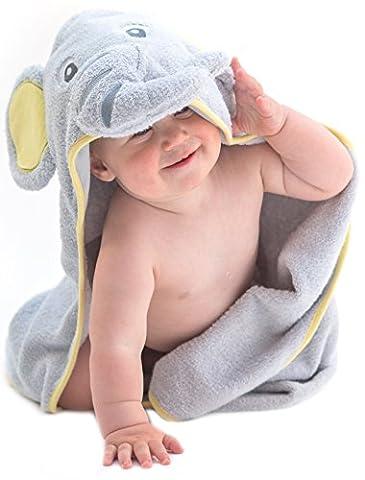 Little Tinkers World Baby-Badetuch / Kapuzenhandtuch im Elefanten-Design – 100% Flauschige Baumwolle – Perfekt als Geschenk für Neugeborene, Säuglinge, Kleinkinder, Mädchen & Jungen, 75x75