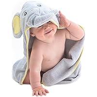 Little Tinkers World Toalla de bebé con capucha de elefante EXTRA SUAVE - Toalla de baño para bebé 100% algodón - Perfecta para bañar a tu bebé - Para recién nacidos y bebés