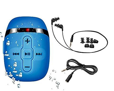 Sigomatech 8 GB MP3 player de natation avec Extra court Cordon des headphones et des 3 Type Swimbuds, cordon court idéal pour la natation; Extension du cordon audio pour différentes activités, Shuffle Fonction(Blue)