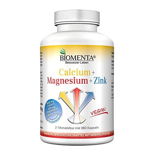 BIOMENTA CALCIUM + MAGNESIUM + ZINK | VEGAN | Mineralstoffkomplex hochdosiert 100% NRV | 2 Monatskur | 180 Kapseln | MINERALSTOFFE und SPURENELEMENTE | Sport Mineralien Nahrungsergänzung