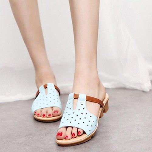 Hunpta Frauen weiblich Sandalen Fashion Solid Sommerstrand gleitet  Hausschuhe Schuhe Blau ...