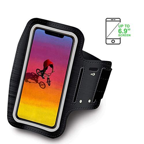 Brazalete Deportivo Compatible con Xiaomi Mi MAX 3 Running Neopreno Ajustable Velcro antisudor Antideslizante Bolsillo para Auriculares Llaves (Negro)