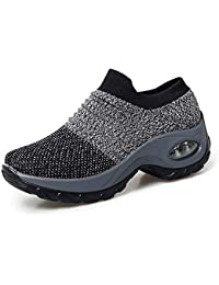 Womens Walking Shoes Breathable Fashion Mesh Sneakers Slip On Trainers Running Shoes Comfortable Platform Loafers Wedge Shoes