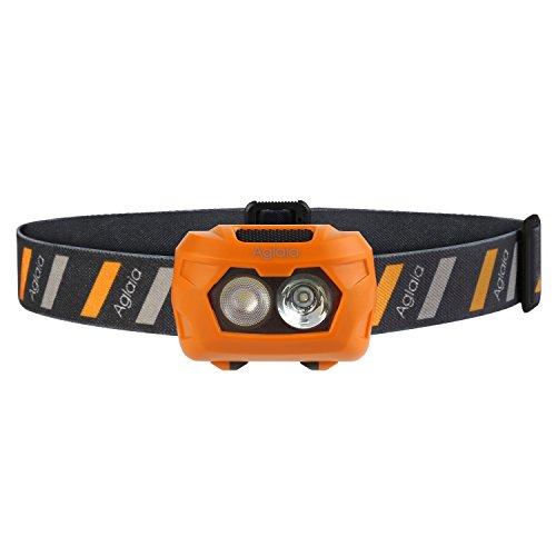 Aglaia LED Stirnlampe, Batteriebetriebene Kopflampe mit 3 Modus und Wasserresistenz für Camping, Laufen, Wandern und Joggen (3 AAA Batterien im Lieferumfang enthalten)