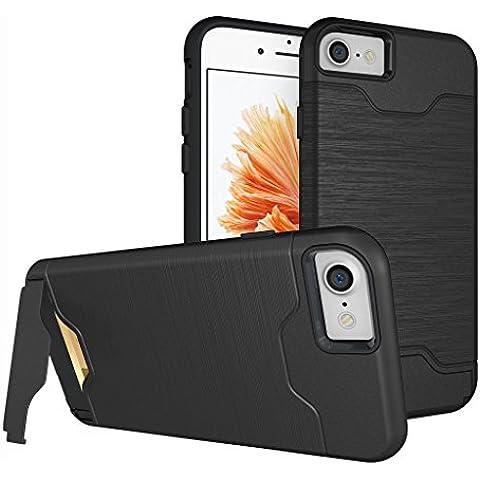 iphone 6 Plus Cover , Custodia iphone 6s Plus , ivencase Nero Durevole [Shockproof] [Extra Grip] Ibrido Case con [Card Slot & Holder] Stand Protettiva Case Perfetta per iPhone 6 Plus/6S Plus 5.5