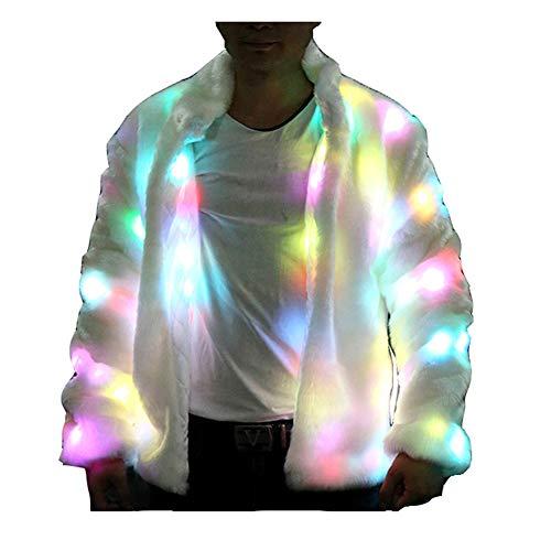 Herren Kostüm Up Light - General LED Man Erwachsene Herren Faux fur Fell Outwear Winter Light up Party Halloween kostüm LED Mäntel Coat (weiße, 2XL)