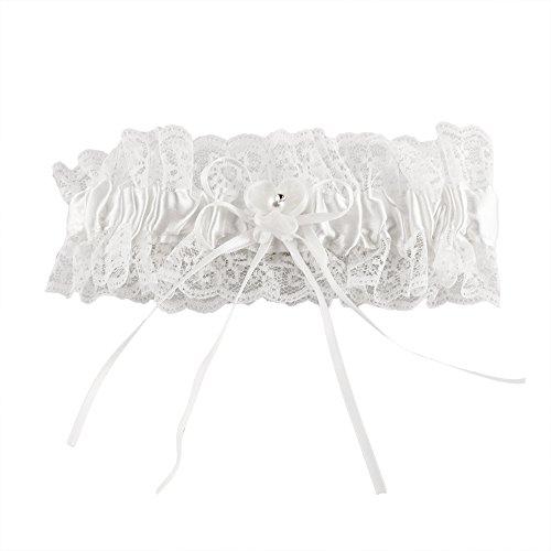 Strumpfband Romantik in Weiß für die Braut - stilvoller Strumpfhalter mit Spitze, Organzablüte und kleinem Strassteinchen als romantisches Brautaccessoire zur Hochzeit -