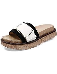 Chanclas Mujeres Zapatillas Casual De Manga Gruesa Zapatos De Playa para Mujer con Sandalias Y Pantuflas