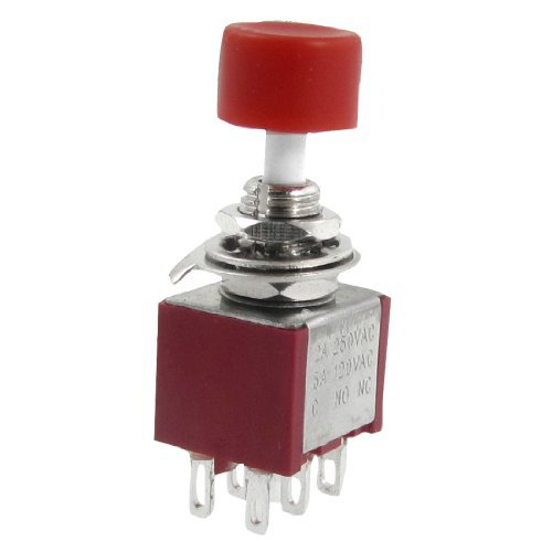 DealMux AC 250V 2A 120V 5A DPDT 2NO 2NC Momentary Push Button Switch -