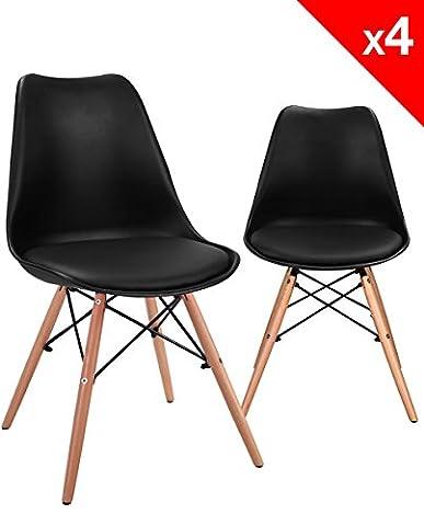 KAYELLES Chaises DSW NASI avec coussin, Lot de 4 chaises design Cuisine, Salle à Manger (Noir)