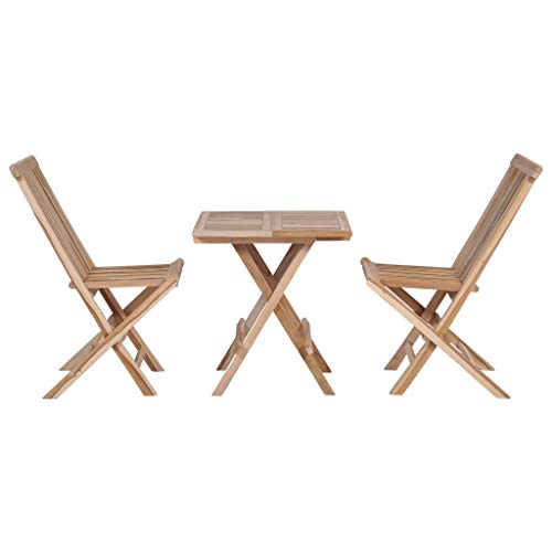 Festnight Set 3 Pcs Folding Bistro Set| Foldable Table Chairs Set| Wooden Garden Table Chairs| Balcony Table Chair Set| Garden Furniure for Outdoor Garden Patio Balcony, Solid Teak