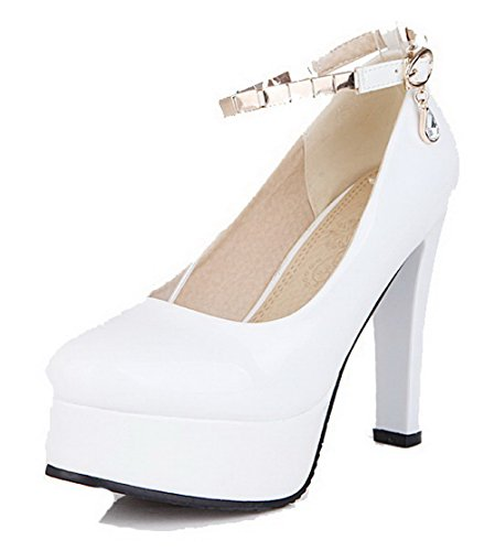 AgooLar Femme Mosaïque Verni à Talon Haut Boucle Rond Chaussures Légeres Blanc