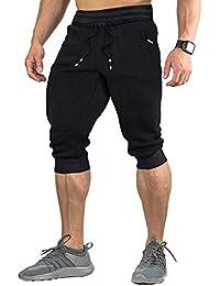 EKLENTSON Men's Cotton Casual shorts 3/4 Jogger Capri Pants Breathable Below Knee Short Pants with Three Pockets