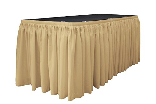 LA Linen Polyester Poplin Pleated Table Skirt with 10 Large Clips, 21-Feet by 29-Inch, Khaki by LA Linen - Khaki Pleated Skirt