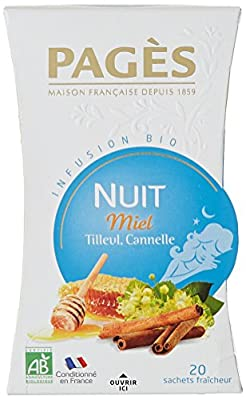 PAGÈS Infusion Nuit Miel Tilleul Cannelle Bio 20 Sachets 30 g - Lot de 3