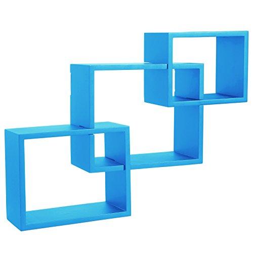 Wandregal Bücherregal Hängeregal Regal Büroregal Holz CD Buch blau 9220 Blau Bücherregal